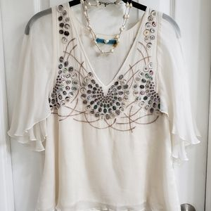 Alice + Olivia Mother of Pearl Silk Blouse